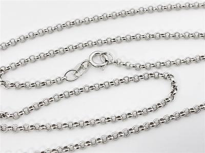 """14K 18"""" Inches 1.9mm White Gold Classic Round Rolo Necklace Pendant Chain"""