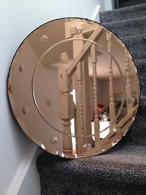 RARE SUPERB 1930s ART DECO ROUND COPPER PEACH BEVELLED EDGE MIRROR CIRCLE DESIGN