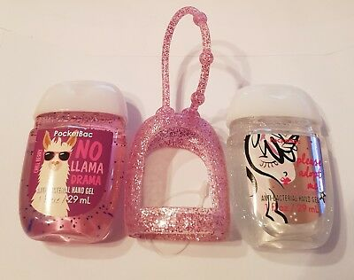 Bath & Body Works  2 x Hand Sanitizer Anti-Bac Gel & Pink Holder, Unicorn Llama