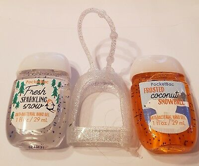 Bath & Body Works  2 x Hand Sanitizer Anti-Bac Gel & Holder Coconut Snowball
