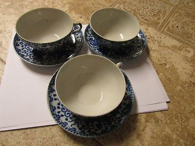 "Japanese Vintage Blue & White Phoenix Bird and Flowers Cups saucer 5 1/2"" Dia."