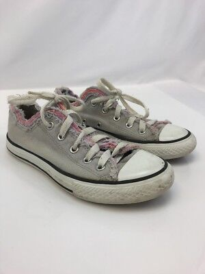 b71b8900fcae Converse Girls Gray All Star Low Top Lace Up Fashion Sneakers Sz US 2
