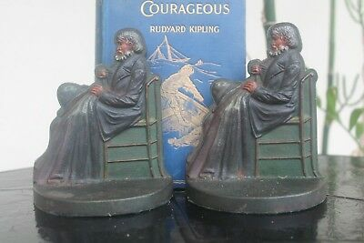 vintage Bradley & Hubbard bookends, circa 1925, painted cast iron, old man