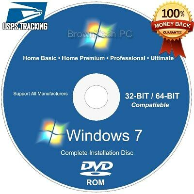 WINDOWS 7 32 / 64 bit Recovery ReInstall Repair Disc Home Premium & Professional
