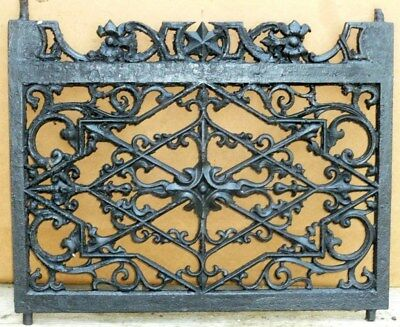 """Ornate Antique Wrought Iron WINDOW GATE Guard-Architectural Salvage 30¼"""""""