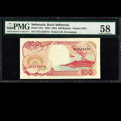 Bank Indonesia 100 Rupiah 1992 1994 PMG 58 Choice About UNCIRCULATED P-127c