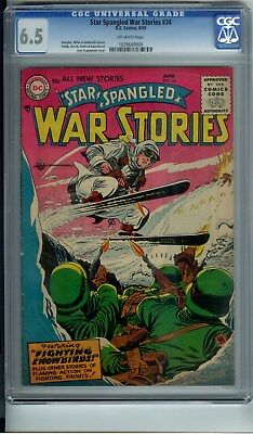 Star Spangled War Stories #34 Cgc 6.5 Skiiing Cover ***rare In High Grade***