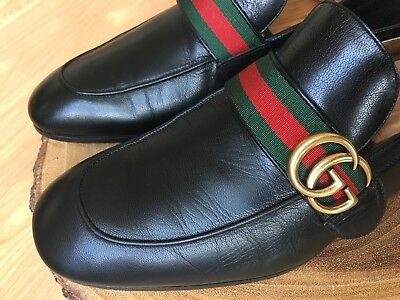 34785367c4e92 Gucci Donnie Web GG Loafer Men's Black Leather Shoes Size 9.5 UK/ 10.5 US *