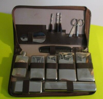 man's vintage grooming/shaving with Gillette products leather kit