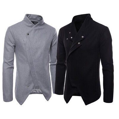 Men Woolen Jacket Zipper Long Slim Fit Casual Jacket Outwear Coat Korean Style