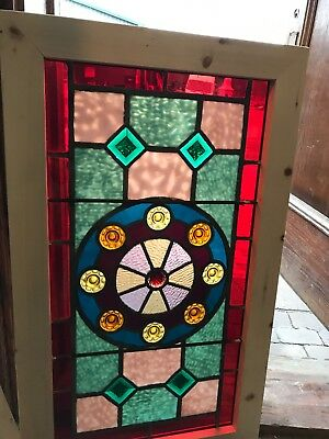 SG 2583 antique Stainglass jeweled transom window 19 7/8 x 33 7/8""