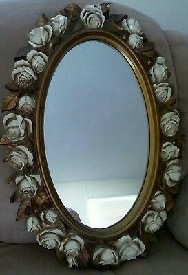 """Home Interior Lg. Oval """"Ring of Roses"""" Framed Mirror"""