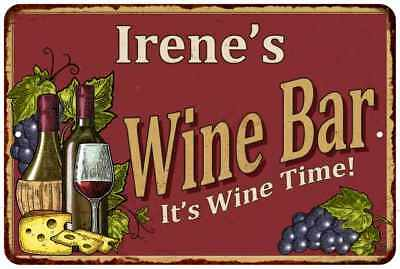 Irene's Red Wine Bar Personalized Metal Wall Sign Home Decor 112180054077