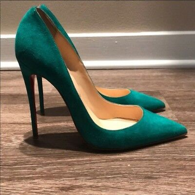 half off b0ba4 49086 CHRISTIAN LOUBOUTIN SO Kate Suede Mint Green Pumps 38