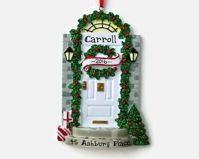NAME PERSONALIZED Christmas ORNAMENT 2018 New Home House Apartment White Door