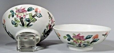 Fine Pair of China Chinese Polychrome Porcelain Bowls w/ Lotus Decor ca. 1900