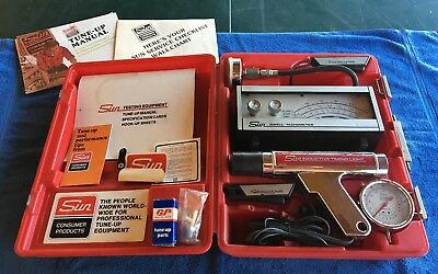 sun tune-up testing equipment timing light dwell tachometer case & manual