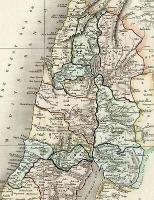 Holy Land Twelve Tribes Palestine c.1836 Dower beautiful map hand colored
