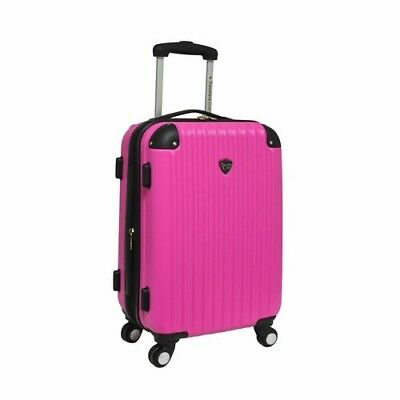 """Travelers Club Expandable 20"""" ABS Hard-side Rolling Carry On Luggage, Pink"""