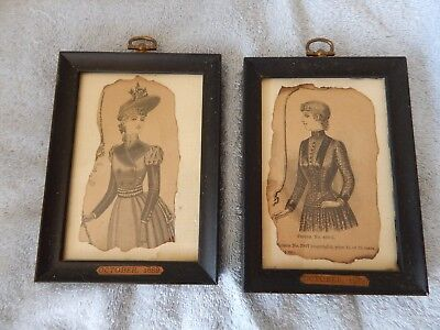 Pair of Vintage 1889 fashion prints in black wooden frames