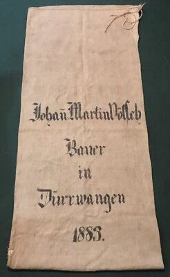Antique 1883 German Canvas Wheat Storage Bag Sack - Made In Germany