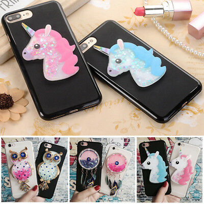 For Alcatel 3 5 1X 1C 3V 3X 3C Unicorn Owl Quicksand Liquid Soft Silicone Case