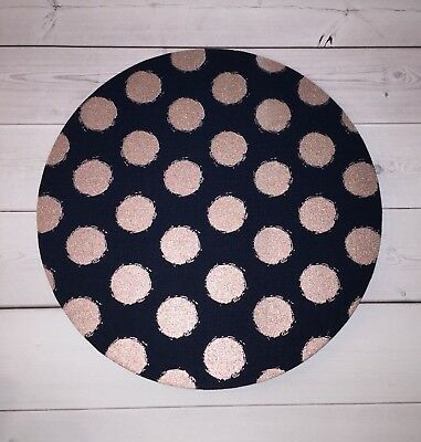 rose gold dots navy mouse pad Round Mat