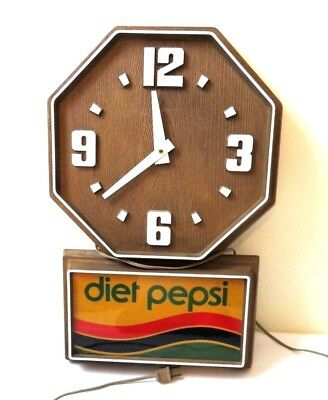 Vintage 70's Diet Pepsi Advertising Wall Clock Faux Wood Mid Century electric