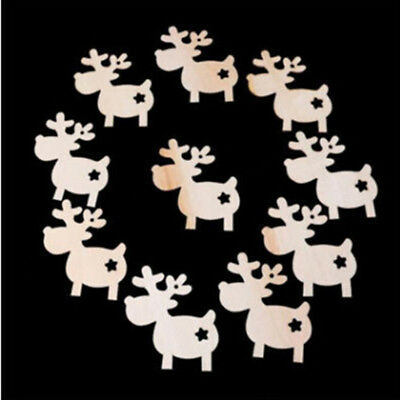 10PCS Christmas Elk Wooden Chip Tree Ornament Hanging Pendant Decor New B