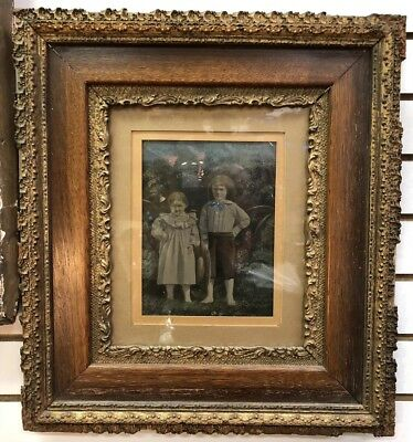 ANTIQUE 1800s LARGE TIN TYPE PHOTOGRAPH 2 CHILDREN HAND PAINTED ORIGINAL FRAME