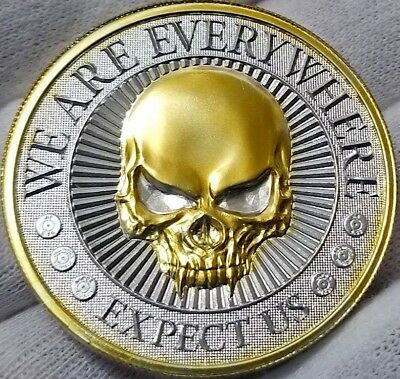 2 oz  .999 pure Silver Coin ,  24k Gold Gilded , WE ARE EVERYWHERE - EXPECT US A