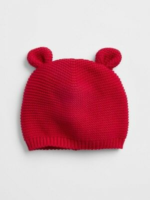 Gap Infant Red Soft Knit Bear Hat Size 0-3 Months-New