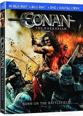 NEW BLU RAY 3D +2D  + DVD  - CONAN the BARBARIAN - JASON MOMOA , RON PERLMAN ,