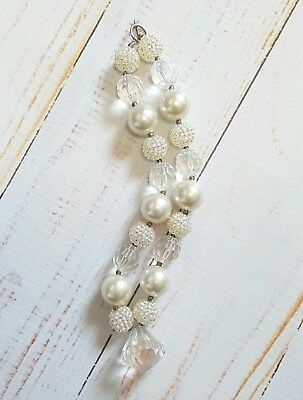 Handmade Chunky Gumball Necklace Child Size Baby Cream Ivory EUC