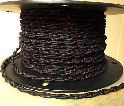 Cloth Covered Twisted Wire - Black w/ Red Tracer, Vintage Style Fabric Lamp Cord