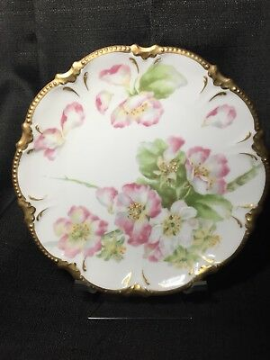 Latrille Freres Old Abbey Limoges Cabinet Plate Pink & White Floral & Thick Gold
