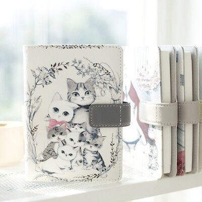 7 Cute Cats Faux Leather Undate Planner Grid Page Diary Blank Journal for Girls