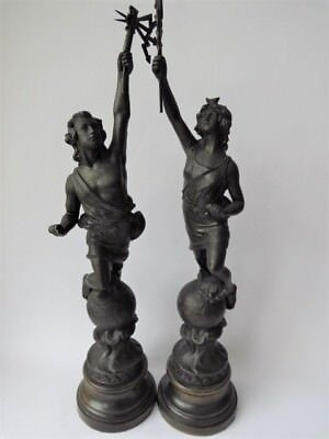 A Pair Of Spelter Statuette's - French Allegorical Figurines