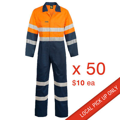 50 x workwear 2 tone Hi Vis Overalls Coveralls with 3M R/Tape Orange/Navy/Silver