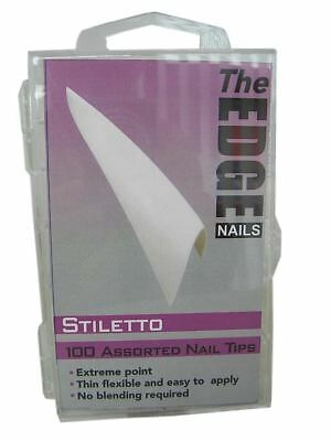 The Edge Stiletto French Manucure Blanc Embouts 100 Assorted Pointu Pas Bien Fin