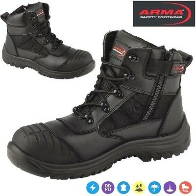 ARMA Leather Safety Steel Toe Cap Zip / Lace Work Waterproof Mens Ankle Boots Sz