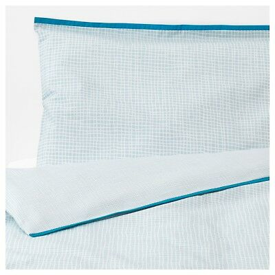 Ikea 100% Blue Cotton Quilt Cover And Pillowcase Set Unisex Baby Cot Bed
