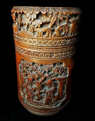 Superb Chinese carved bamboo tea caddy lidded pot nice patination 19th century
