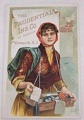 Early 1900's Trade Card-Prudential Insurance Co-Newark Nj-Lady-Pencil Seller