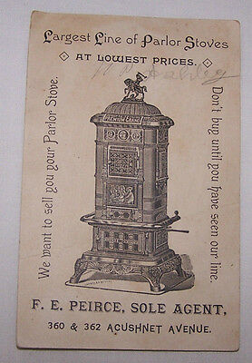 Late 1800's Trade Card-Peirce Parlor Stoves-Pierce Stoves-Fancy-Home-Heating