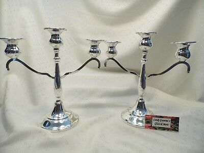Lehman Bros. Silver-plated Triple Arm Candelabra  Candle Holder Set of Two
