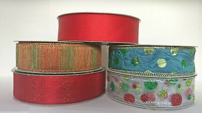 "2m Luxury Wire Edged Ribbons/ 38mm/1.5"" /Peacock dots/glitter dots/red satin/red"