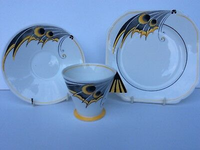 Rare Shelley Art Deco Mode Shape Trio Yellow Butterfly Wing