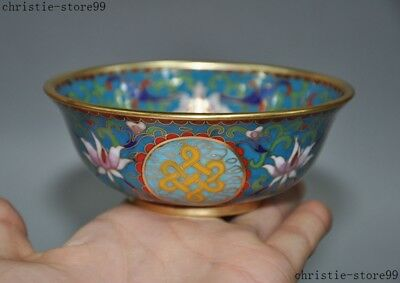 """4""""Marked Chinese Dynasty Bronze cloisonne Enamel gilt flower statue Tea Cup Bowl"""