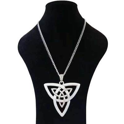 Large Silver Abstract Metal Celtic Knot Trinity Pendant on Long Chain Necklace